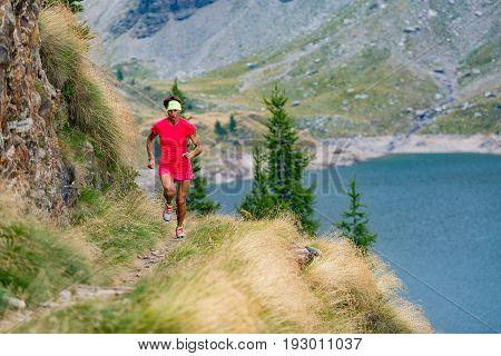 Women's running racing training in summer time