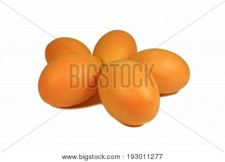 Vibrant Yellow Orange Color Fresh Ripe Marian Plum or Ma-Prang Fruits Isolated on White Background