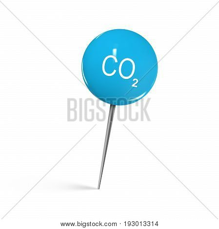 Closeup of blue shiny thumbtack with CO2 icon against white background