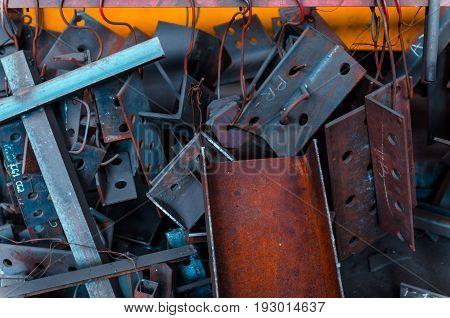 Metal texture. Scrap metal. Metallurgical plant waste.