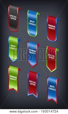 Set of 3d vector vertical ribbon bookmark elements for sales promotion.