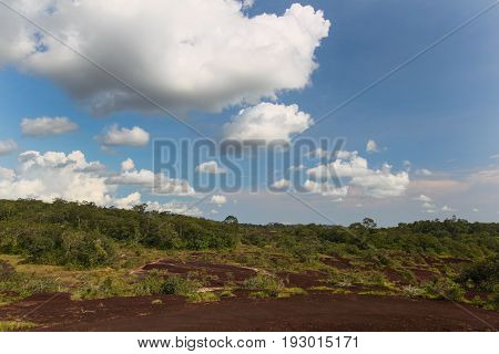 Mountain landscape with limestone scree and forest more clouds and sky backgroundThailand
