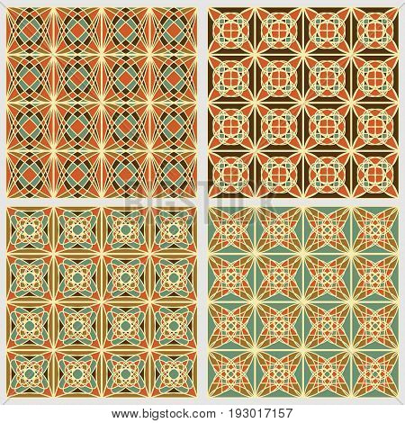 Set of vintage square tiles in nostalgic colors with simple geometric patterns in art deco style vector eps 10 design collection