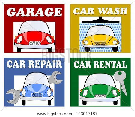 Services for motorists and drivers - garage car wash car repair car rental. Set of multicolored billboards with car cartoon and white inscription. Infographic pictograms for navigation.