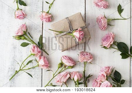 Pink Roses And A Gift Boxes