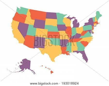 Political map of USA, United States of America, in four colors on white background. Vector illustration.
