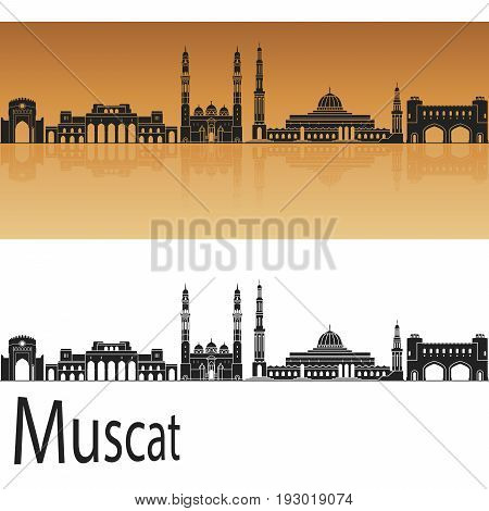 Muscat skyline in orange background in editable vector file