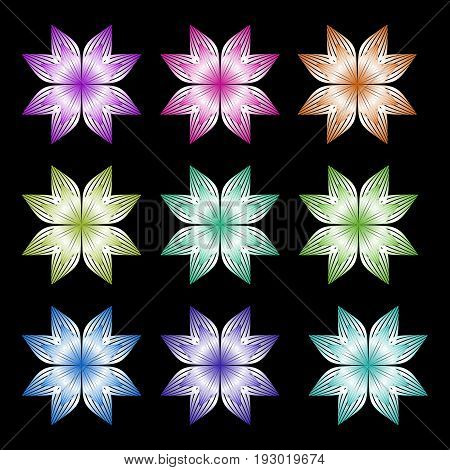 Set of metallic symmetric star shapes in different color gradients. Isolated design element for template wrapping paper. Vector EPS10