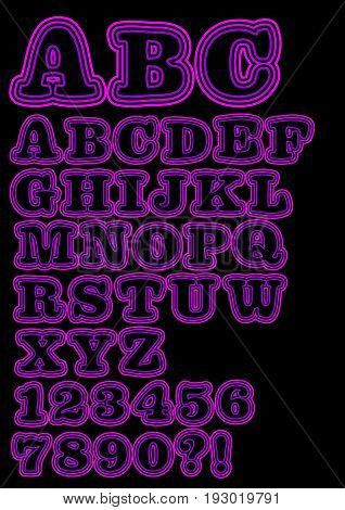 Alphabet uppercase neon set in purple including numbers question mark and exclamation mark. Significant bold rounded font vector EPS 10