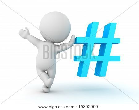 3D Character Waving And Leaning On Blue Pound Or Hashtag Sign