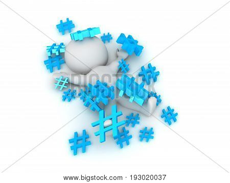 3D Character Lying In A Pile Of Hashtags Or Pound Signs