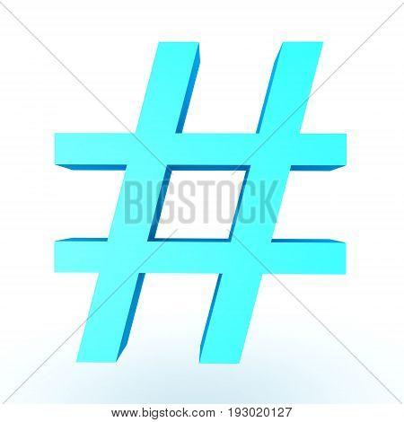 3D Illustration Of Shiny Blue Hashtag Or Pound Sign