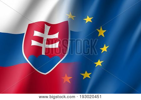 Symbol of Slovakia is EU member. European Union sign with twelve gold stars on blue and Slovakia national flag. Vector isolated icon