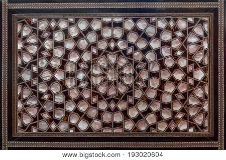 Wooden ornament of an aged antique of an antique seat at Fatih Mosque Istanbul Turkey