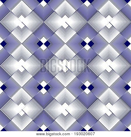 White and blue rhomboid regular patterns in inverse repeating design