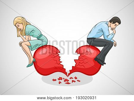 A broken heart is the end of the relationship between a man and a woman.