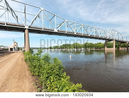 Red Wing Bridge Crosses the Mississippi River at Red Wing Minnesota