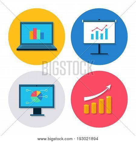 Finance icon set. Modern icons with finance diagram, chart with arrow, graph and growth. Interface elements in flat design. Vector illustration isolated on white background.