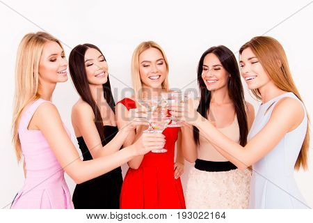 Ready To Party Ladies! Cheers To A Bride! Five Cute Bridemaids And A Future Bride Are Toasting At Th