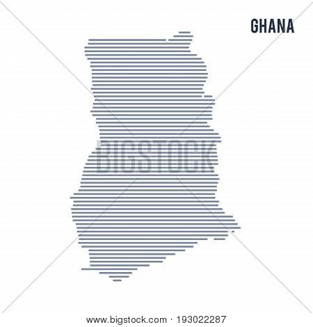 Vector Abstract Hatched Map Of Ghana With Lines Isolated On A White Background.