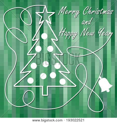 Christmas theme in modern design christmas tree with star and christmas balls in white outline on green pixelated background. Calligraphic white curve with bell silhouette Merry Christmas and Happy New Year inscription.