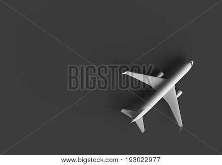 3D RENDERING OF AN AIRPLANE ON GREY PLAIN BACKGROUND