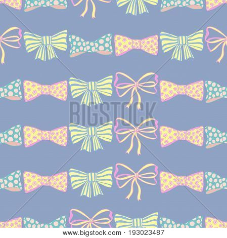 Seamless pattern with hand drawn bow-ties on blue background. Doodles vector illustration.