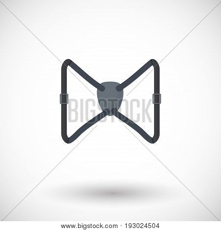 Binocular harness strap vector flat icon Flat design of exploring equipment or birdwatching tool accessory with round shadow vector illustration