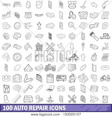 100 auto repair icons set in outline style for any design vector illustration