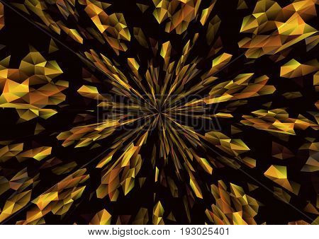 Cubism background radiation Black and gold texture design