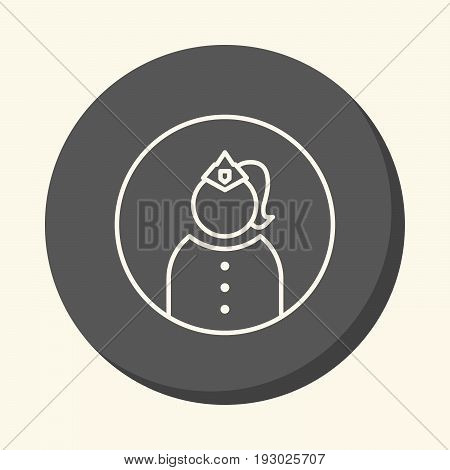 Avatar silhouette of an official woman in a cap with a cockade and uniform vector line icon with the illusion of volume simple color change