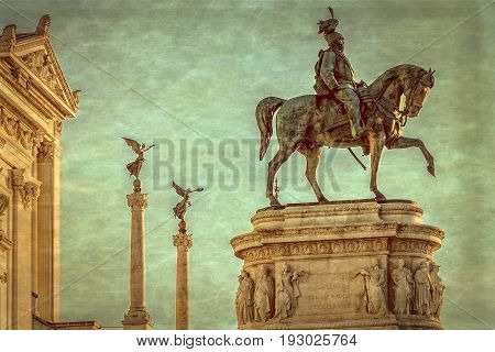 Old photo with the Monument Nazional a Vittorio Emanuele II built in honour of first king of a unified Italy.Rome. Vintage processing.