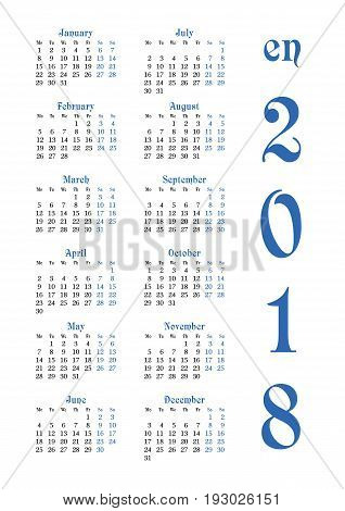 Calendar grid for 2018 with noted weekend days in blue. Simple design. First day of week - Monday. Suitable for Europe Britain part of Asia on english. Vertical orientation. Vector illustration