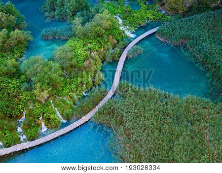 beautiful aerial view with walking path in the Plitvice Lakes National Park Croatia
