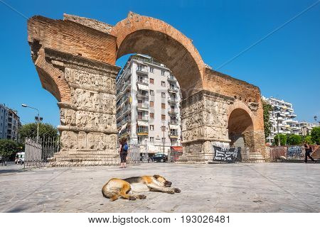 THESSALONIKI GREECE - SEPTEMBER 17 2016: The Arch of Galerius (Kamara) one of most important monuments in the city
