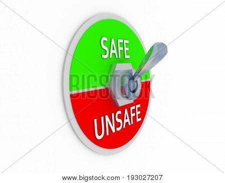 3d safe unsafe switcher . 3d rendered illustration