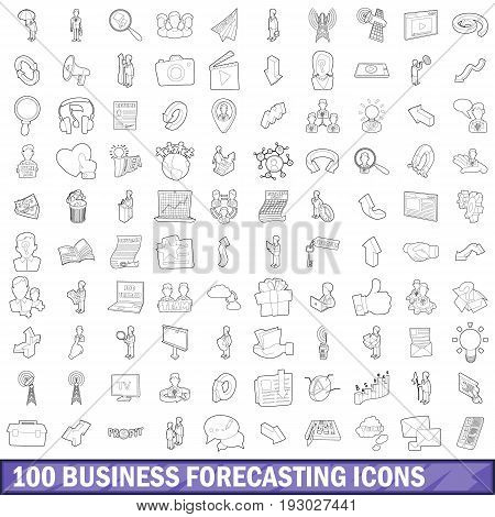 100 business forecasting icons set in outline style for any design vector illustration