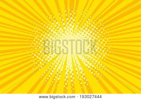 Vector yellow background with rays and halftone dots in pop art retro comic style. Abstract creative concept illustration comic book design.