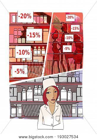 A sad young woman in the uniform of the pharmacist behind the counter against the backdrop of unchecked medicines price tags with discounts and crowds of people. On the background of the texture of watercolor paper