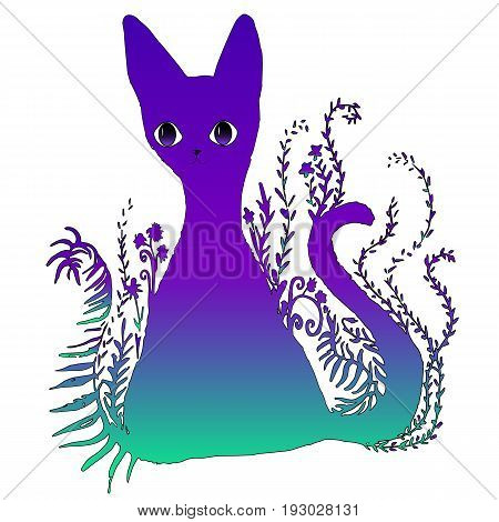 Funny fairy tale psychedelic silhouette of a cat sitting in the grass isolated on white background. Design is a bright colorful surreal surreal cat. Vector illustration of a beautiful neon art cat.