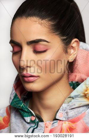 Attractive Pretty Girl Wearing Casual Jacket With Eyes Closed