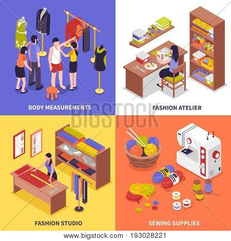 Fashion atelier 2x2 design concept with body measurements fashion studio sewing supplies square compositions isometric vector illustration