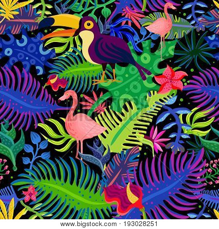 Tropical paradise exotic colorful seamless pattern with flamingo toucan birds and bright purple green foliage vector illustration