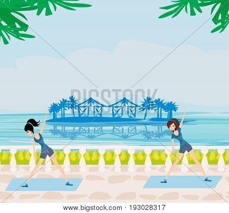 Gymnastics In a summer seaside resort , vector illustration
