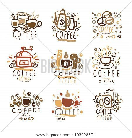set of colorful hand drawn vector Illustrations for coffee shop, espresso bar, coffeehouse, restaurant, packaging and advertising