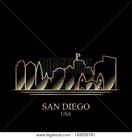 Gold Silhouette Of San Diego On Black Background