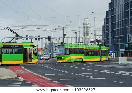 MODERN CITY, MODERN TRANSPORT - Landscape of infrastructure and development of a large city of Poznan poster