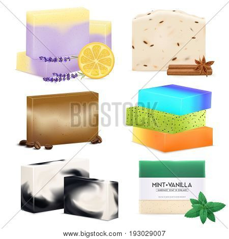 Natural handmade soap bars collection with lemon lavender cinnamon sea salt vanilla and mint realistic isolated vector illustration