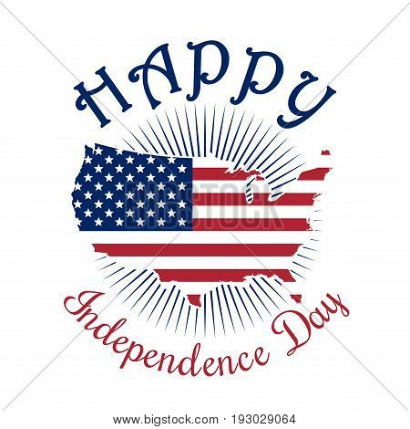 Independence Day icon. Happy Independence Day of America. 4th of July. Map of the United States of America. US flag. Color map icon isolated on white background. Vector illustration