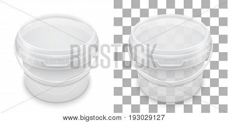 Transparent empty plastic bucket for storage of food honey or ice cream. View from above. Packaging template vector illustration.